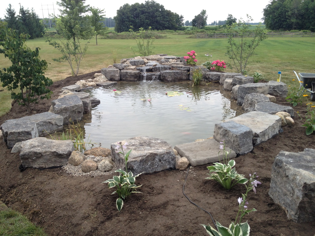 Pond with stone around