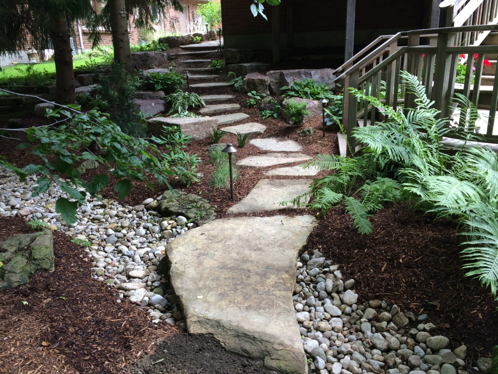 Mulch Surround Stone Walkway