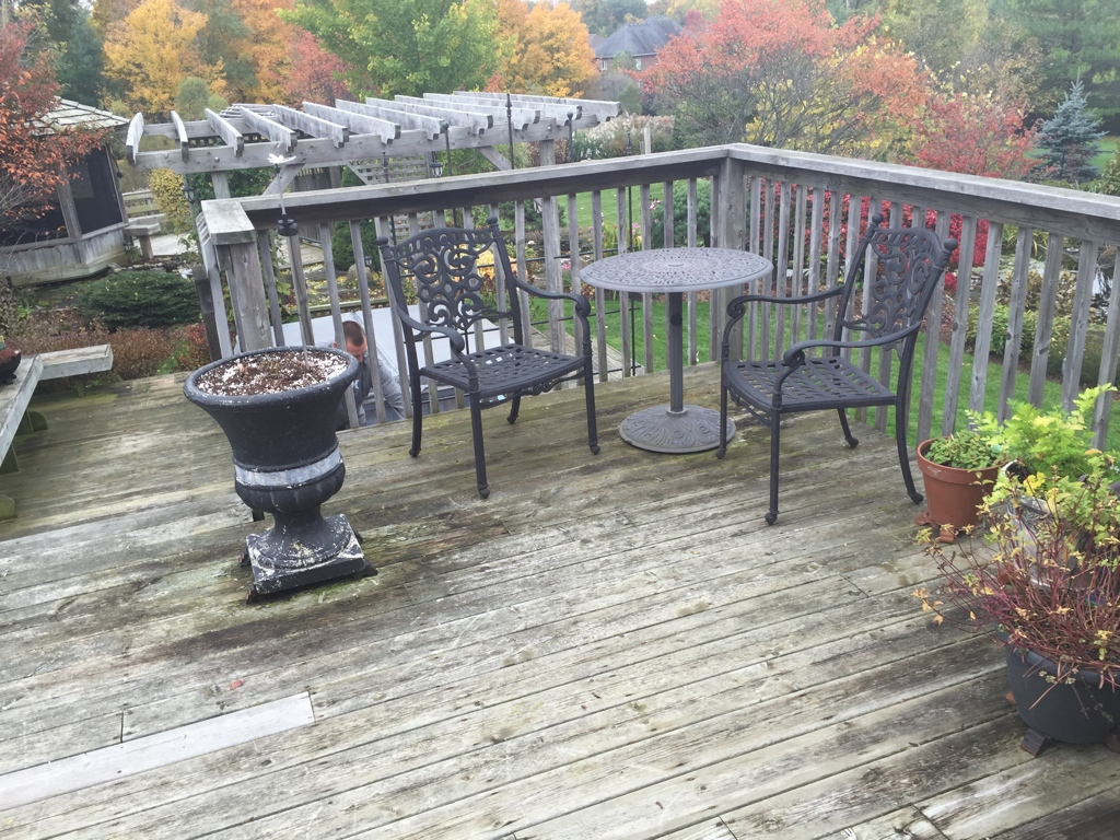 Wooden deck with hand rail