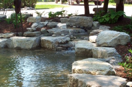 Pond with rock around