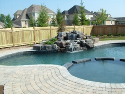Waterfall into pool and side pool