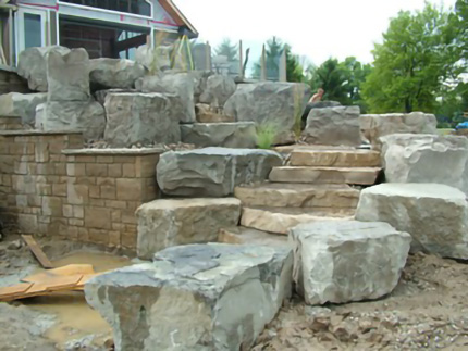 Stone walkway with rock border