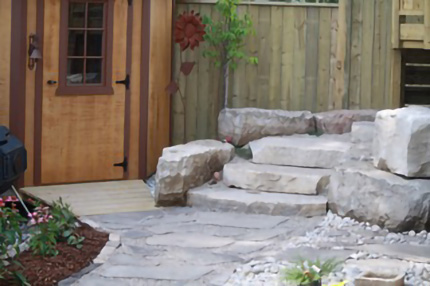 Rustic Natural Stone Walkway With Rock Stair way