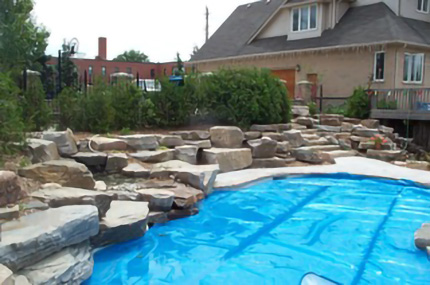 Stone design around pool
