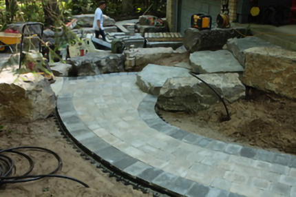 Mixed stone Walkway with border